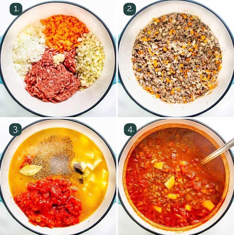 process shots showing how to make hamburger soup