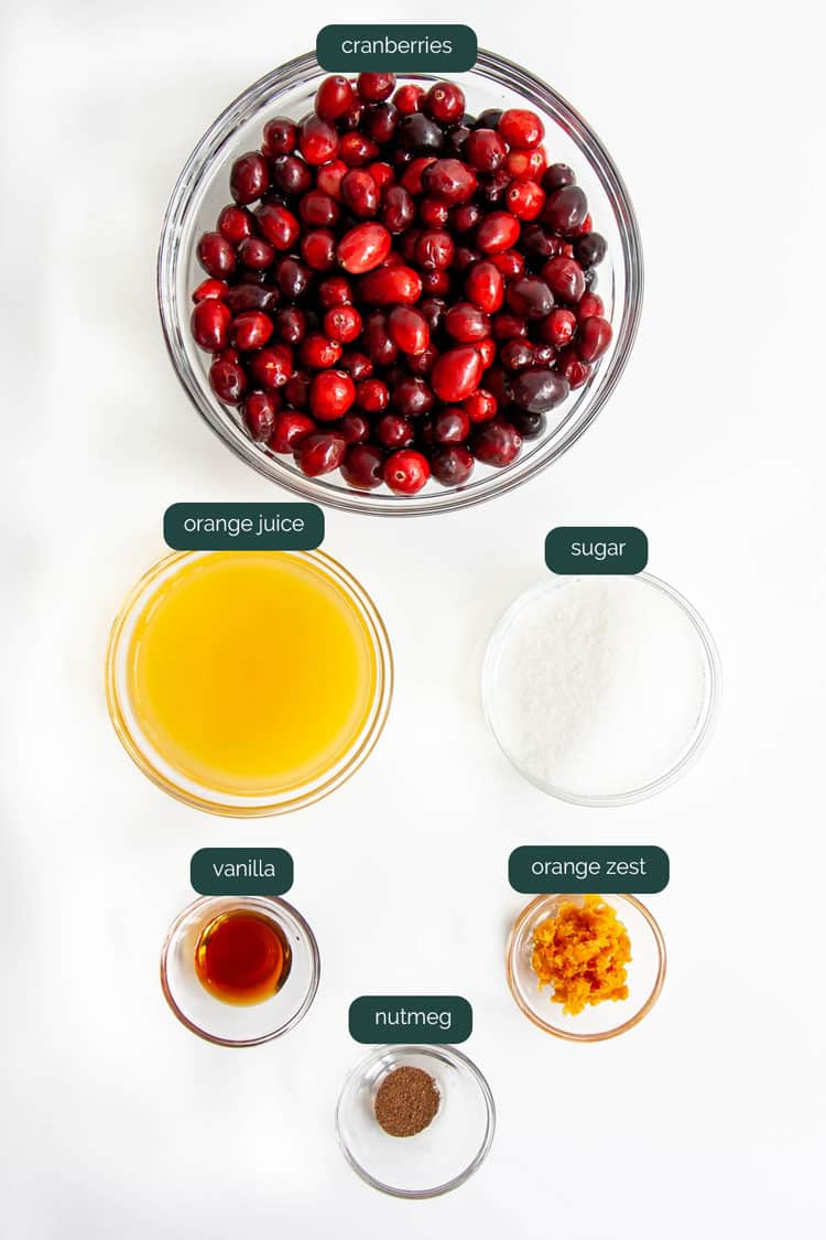 overhead shot of ingredients needed for cranberry sauce