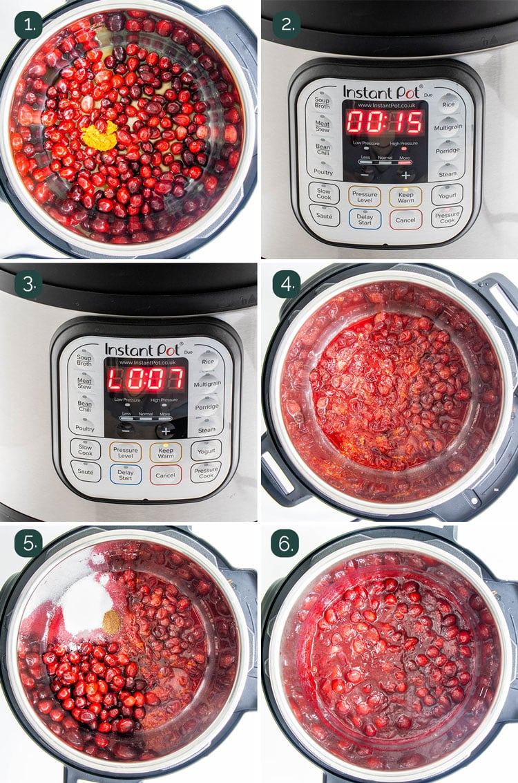process shots showing how to make cranberry sauce in the instant pot