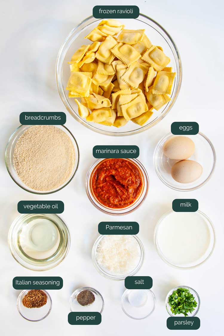 overhead shot of all the ingredients needed to make toasted ravioli