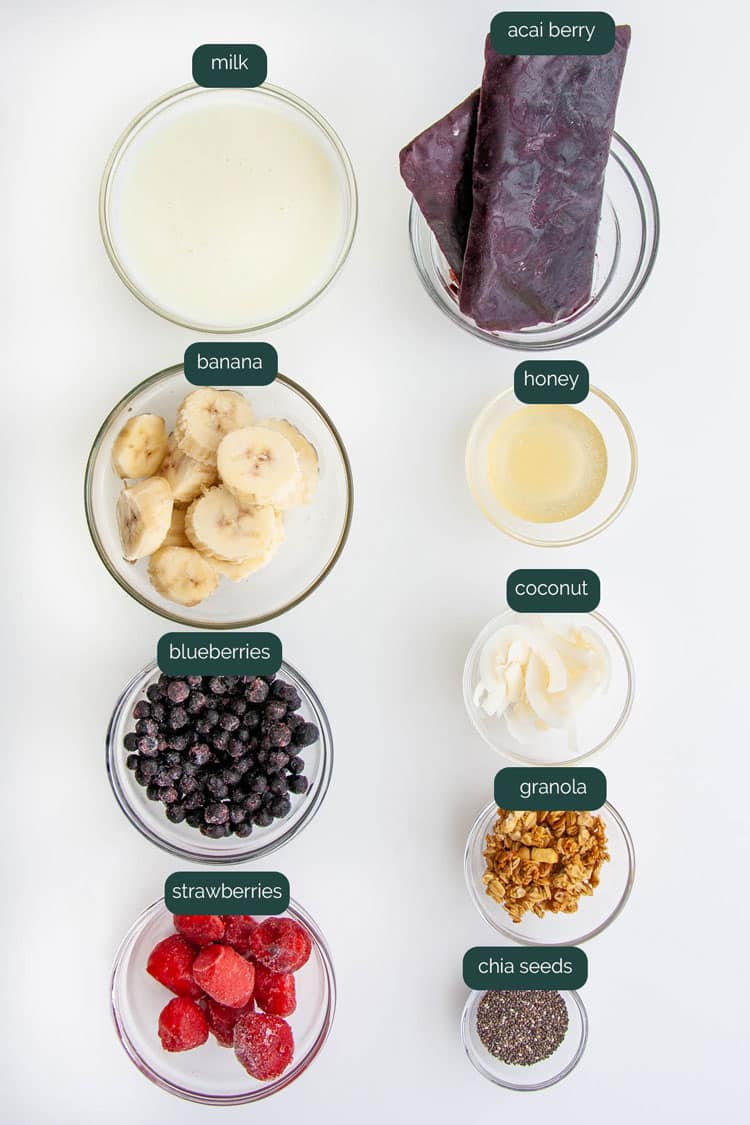 overhead shot of ingredients needed to make açai bowl