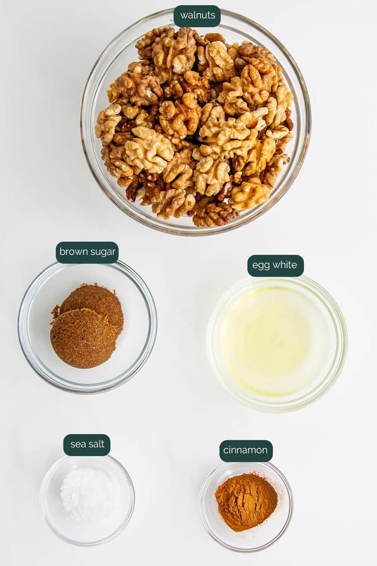 overhead shot of ingredients needed for making candied walnuts