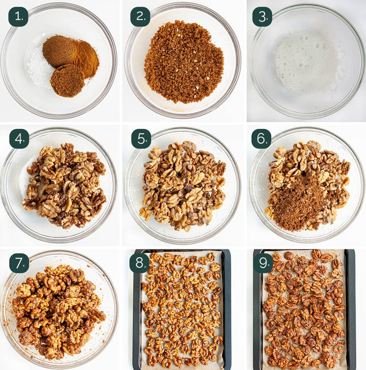 process shots showing how to make candied walnuts