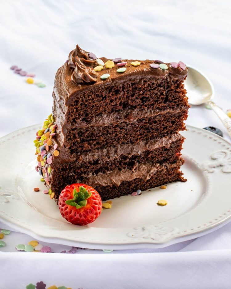 a slice of chocolate cake on a white plate