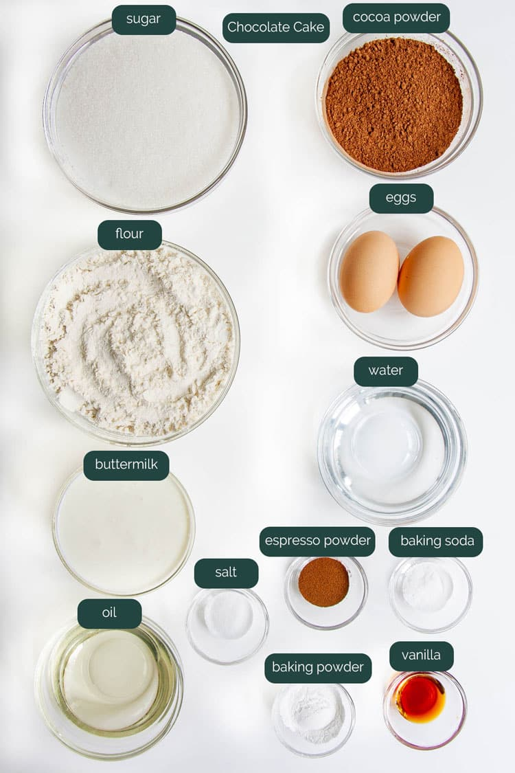 overhead shot of ingredients needed to make chocolate cake