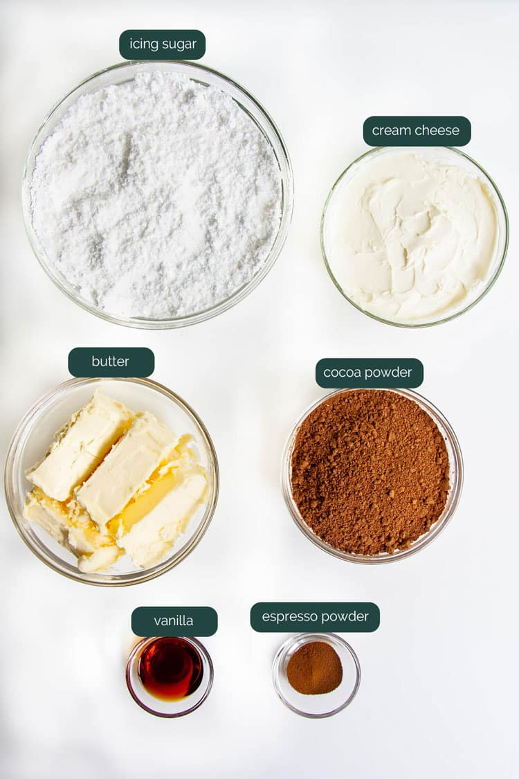 overhead shot of ingredients needed to make chocolate cream cheese frosting