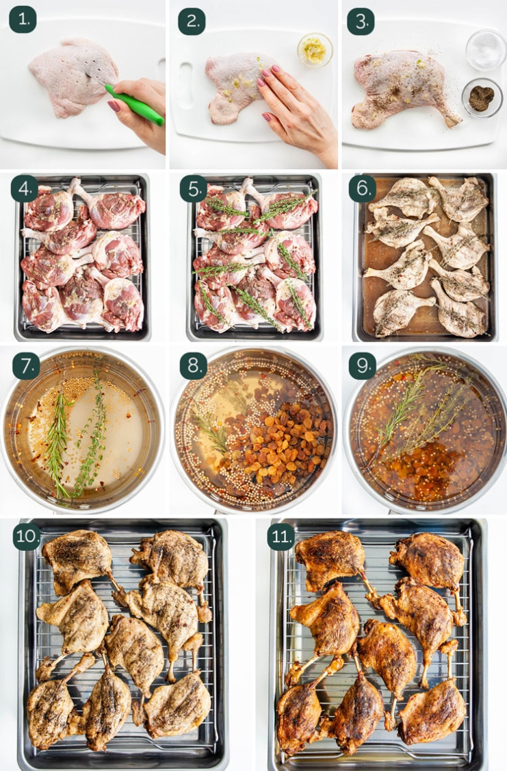 process shots showing how to make duck confit
