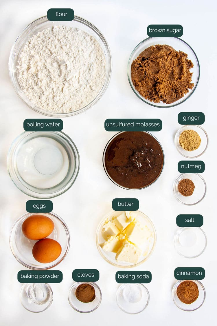 overhead shot of all the ingredients needed to make gingerbread cake