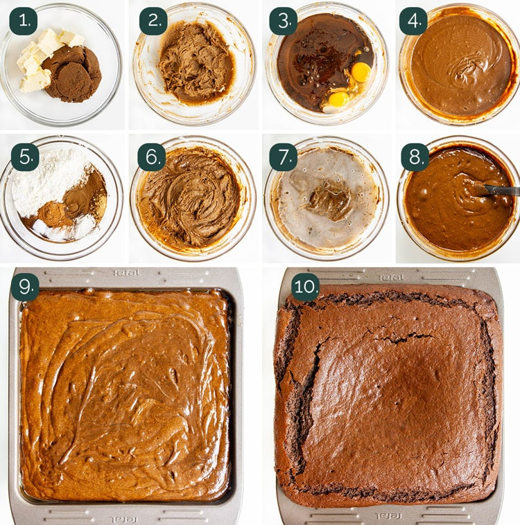 process shots showing how to make gingerbread cake
