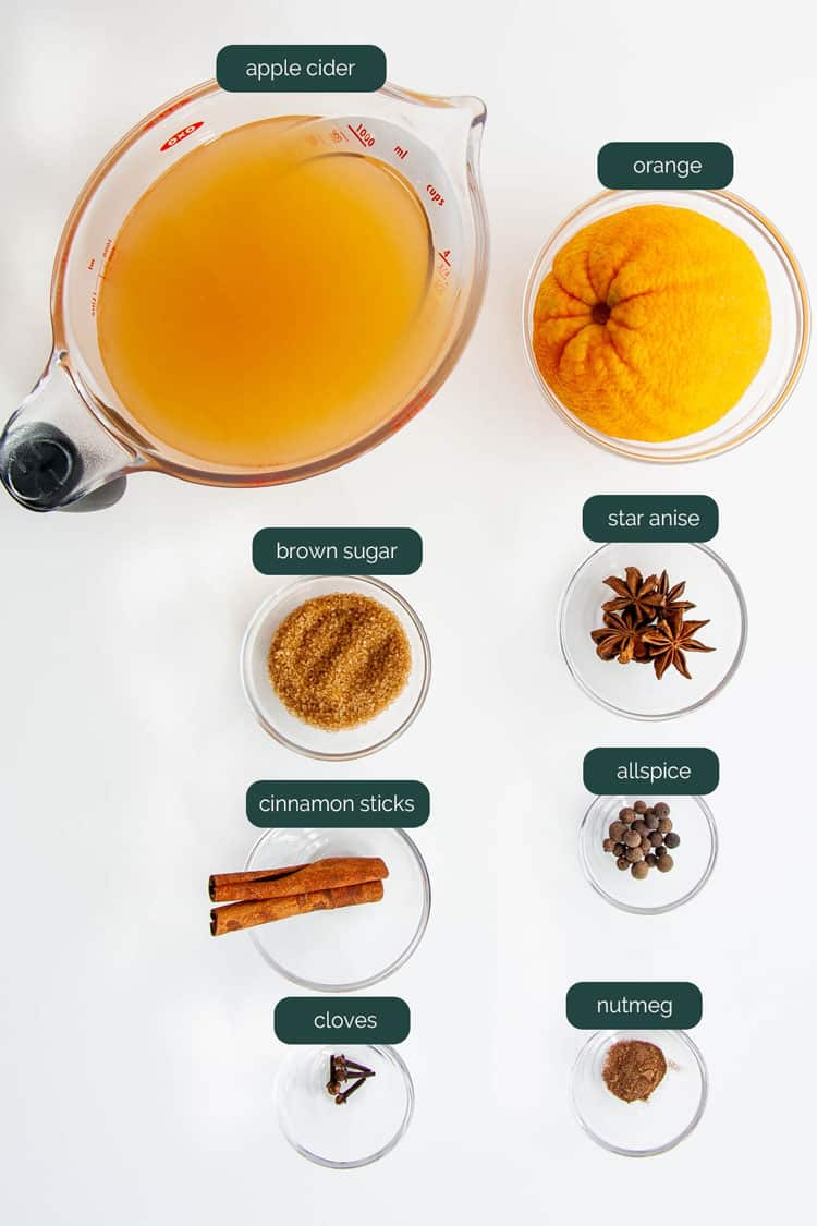 overhead shot of all ingredients needed to make hot mulled cider