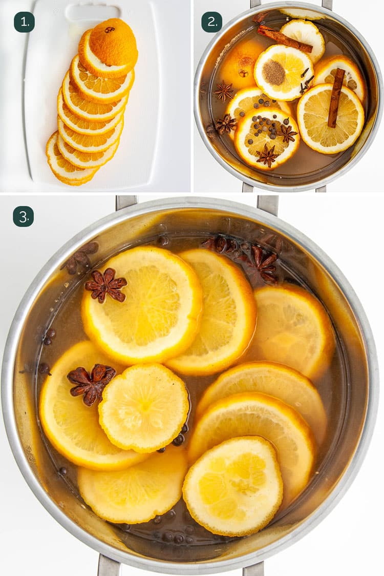 process shots showing how to make hot mulled cider
