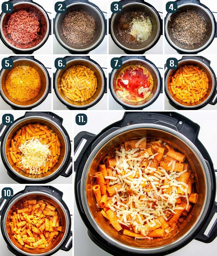 process shots showing how to make baked ziti in the instant pot