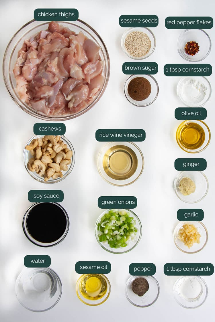 overhead shot of ingredients needed to make cashew chicken