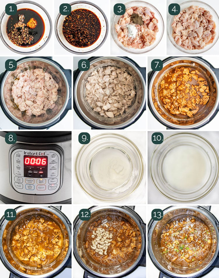 process shots showing how to make cashew chicken in the instant pot