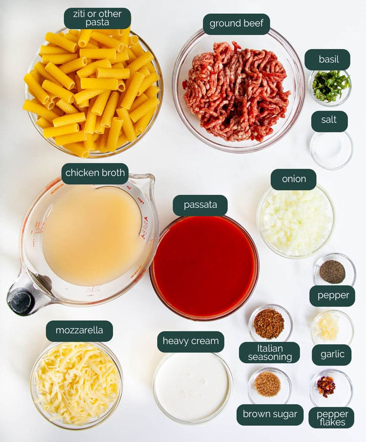 overhead shot of all the ingredients needed to make baked ziti in the instant pot
