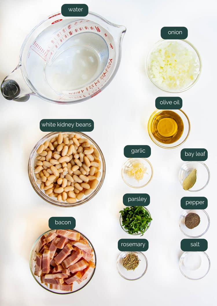 overhead shot of all the ingredients needed to make tuscan white beans in the instant pot