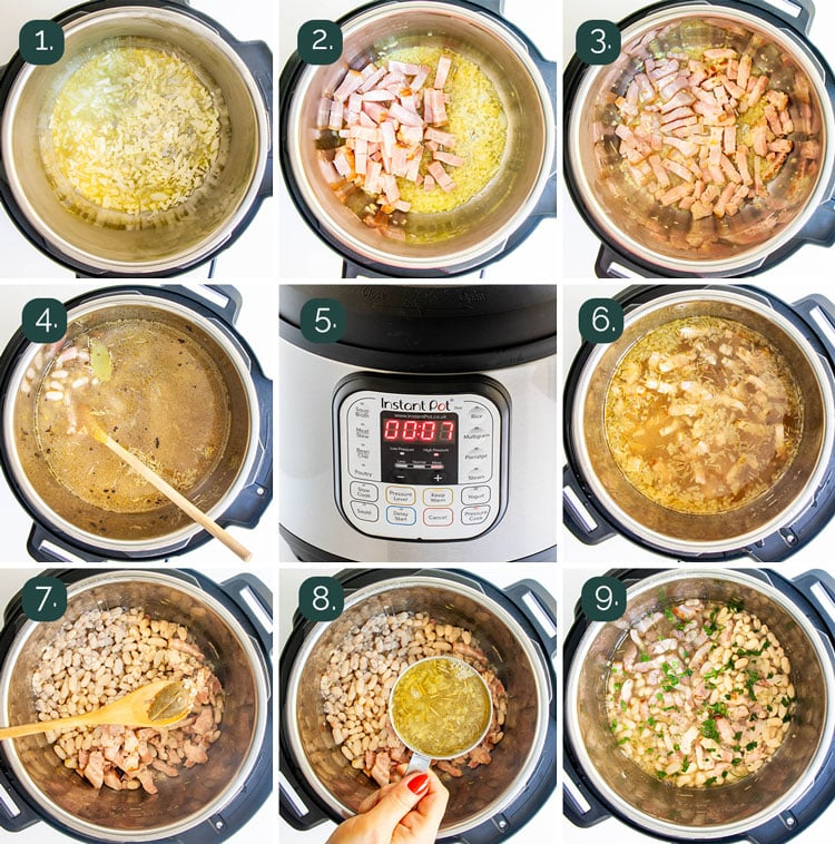 process shots showing how to make beans in the instant pot