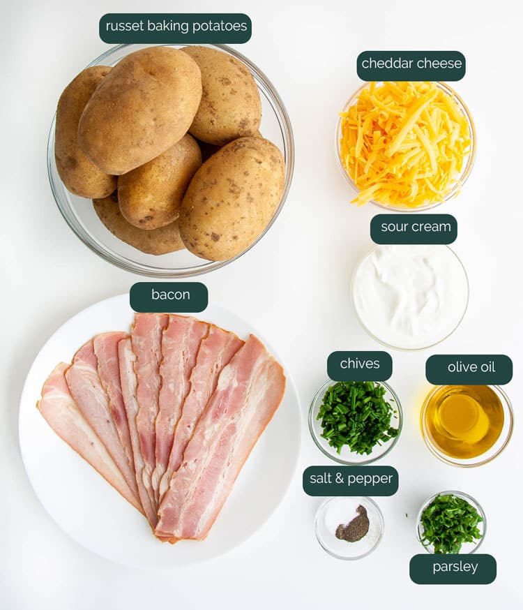 overhead shot of ingredients needed to make potato skins