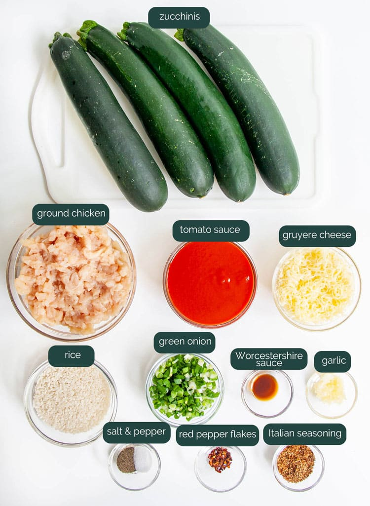 overhead shot of ingredients needed to make zucchini boats