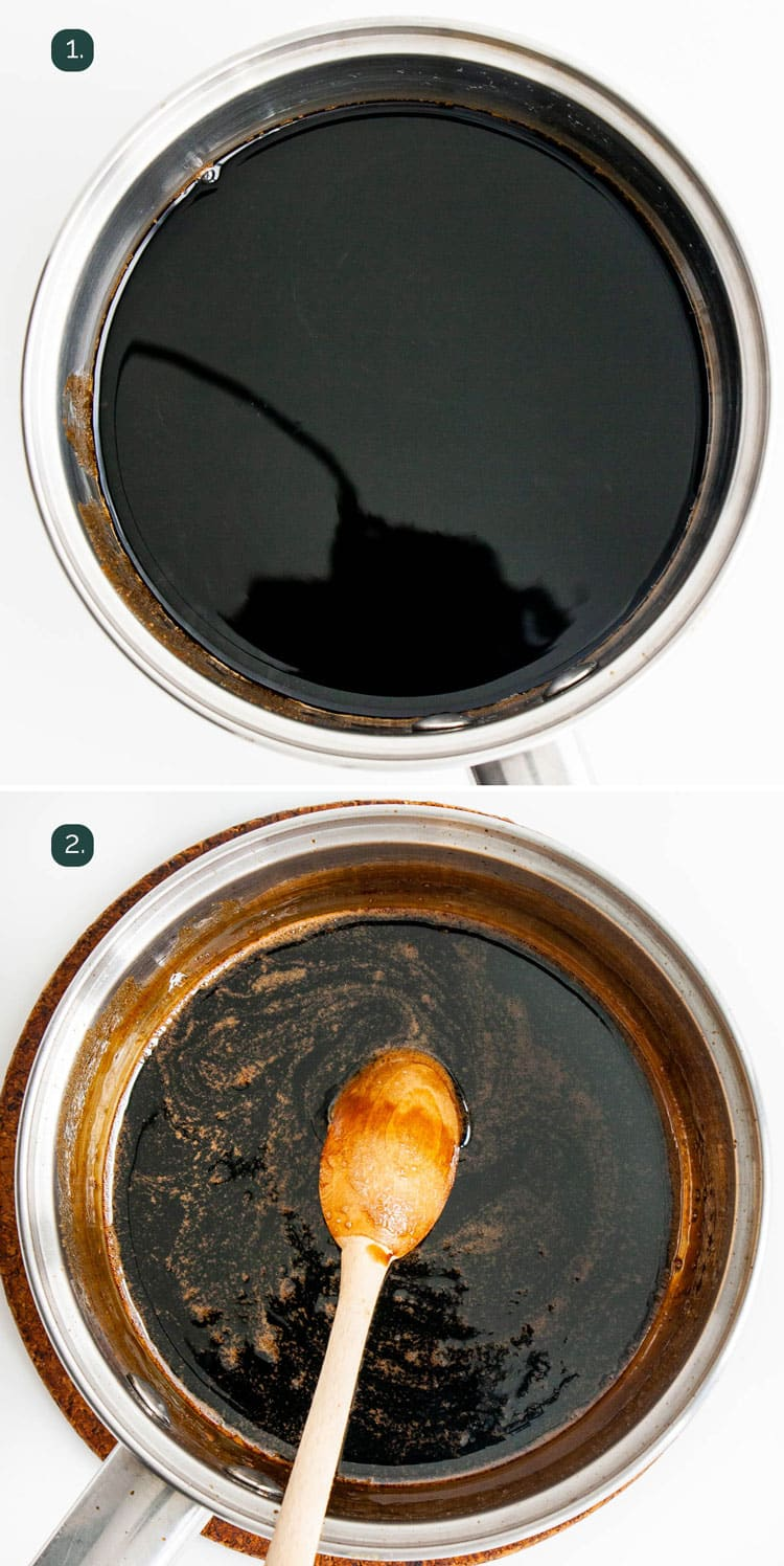 process shots showing how to make balsamic glaze