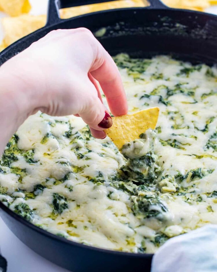spinach dip in a skillet