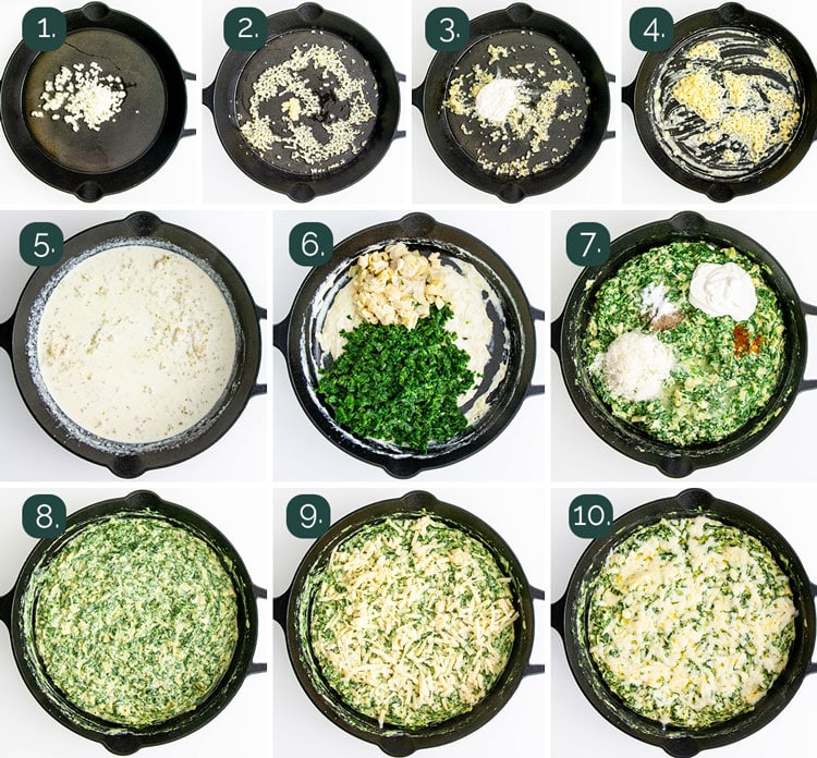 process shots showing how to make spinach dip