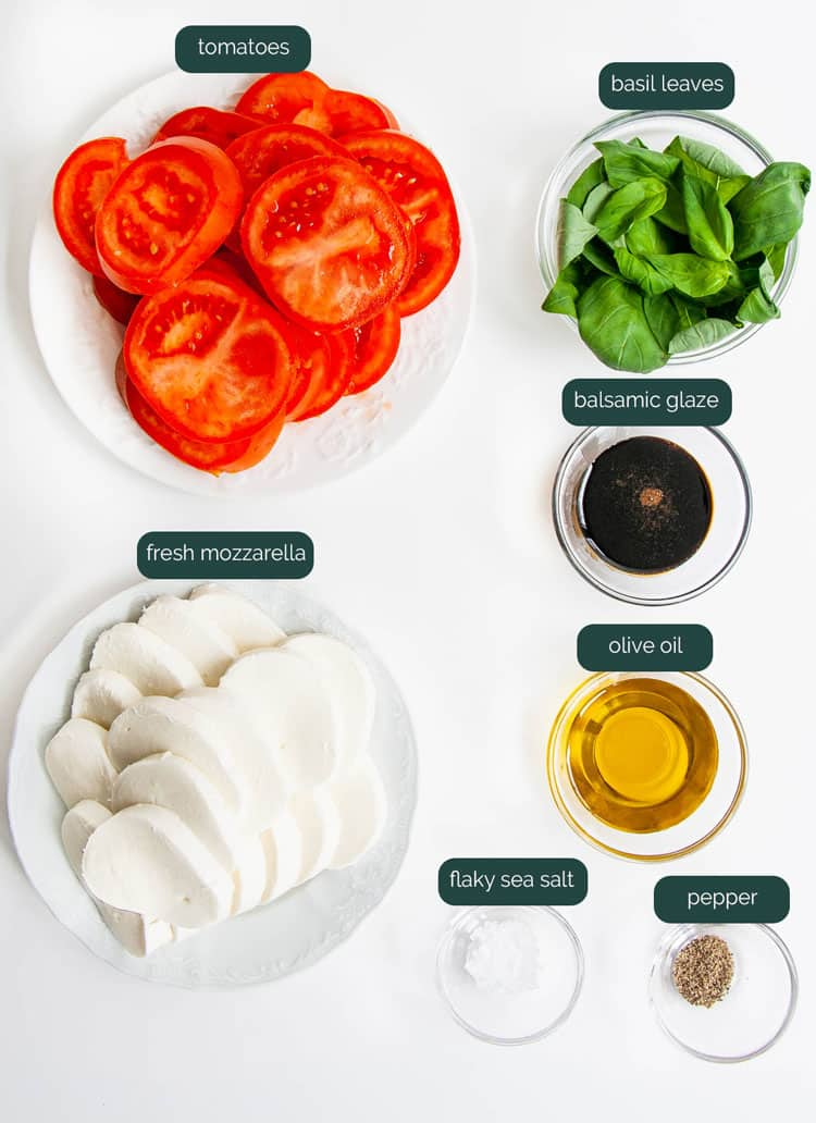 overhead shot of all ingredients needed to make caprese salad