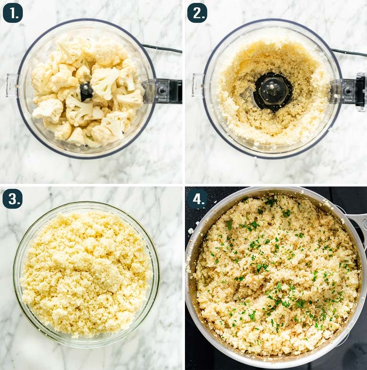process shots showing how to make cauliflower rice