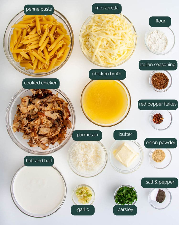 overhead shot of all the ingredients needed to make chicken alfredo bake