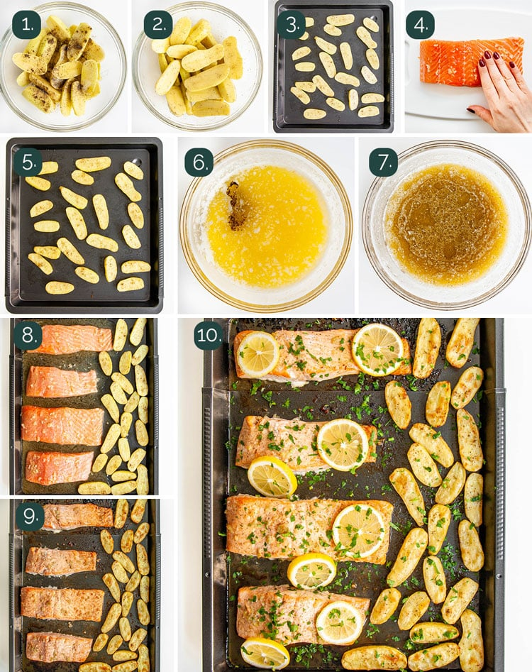 process shots showing how to make garlic butter baked salmon