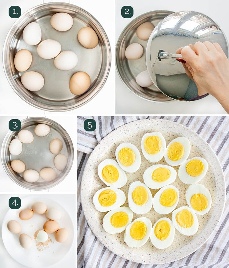 process shots showing how to boil eggs