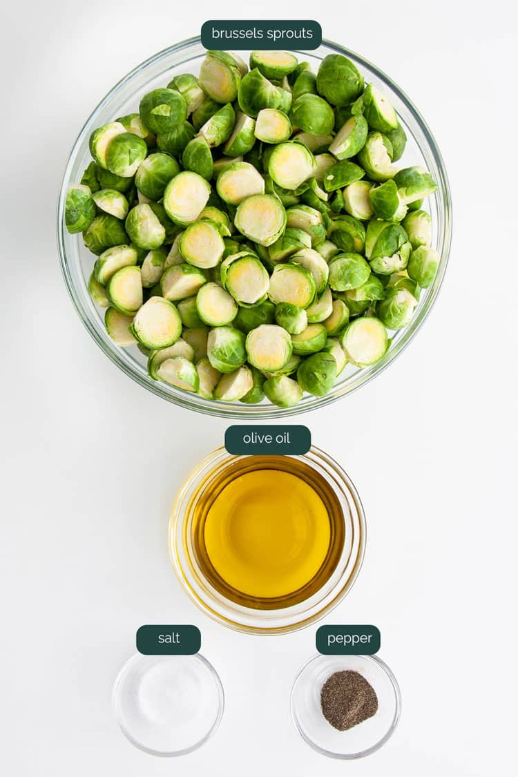 overhead shot of ingredients needed to make roasted brussels sprouts