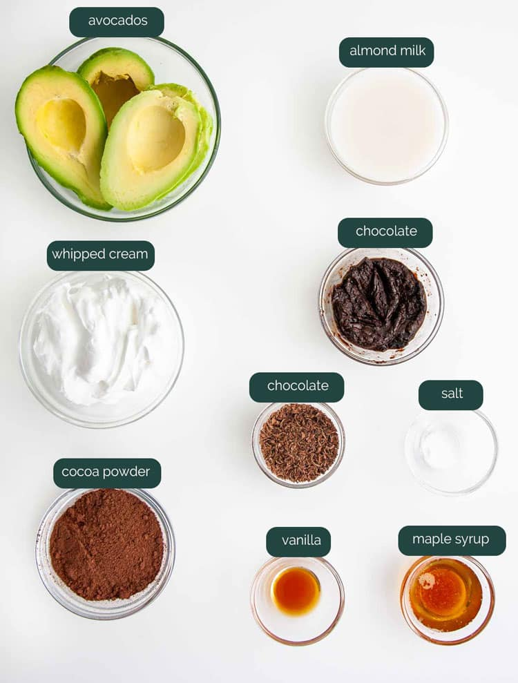 overhead shot of all the ingredients needed to make avocado chocolate mousse