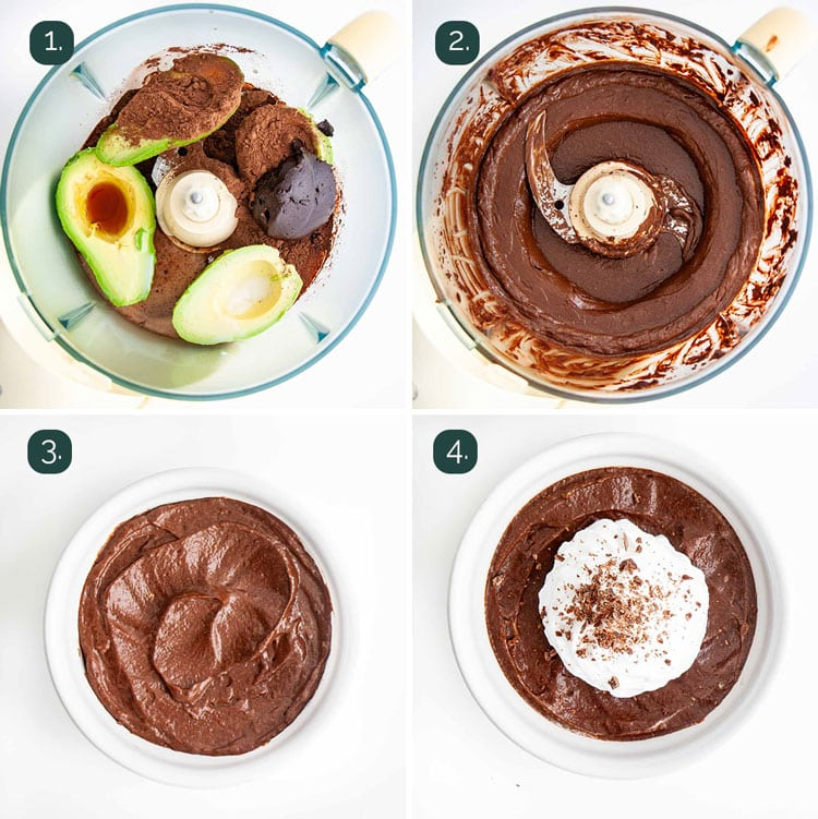 process shots showing how to make avocado chocolate mousse