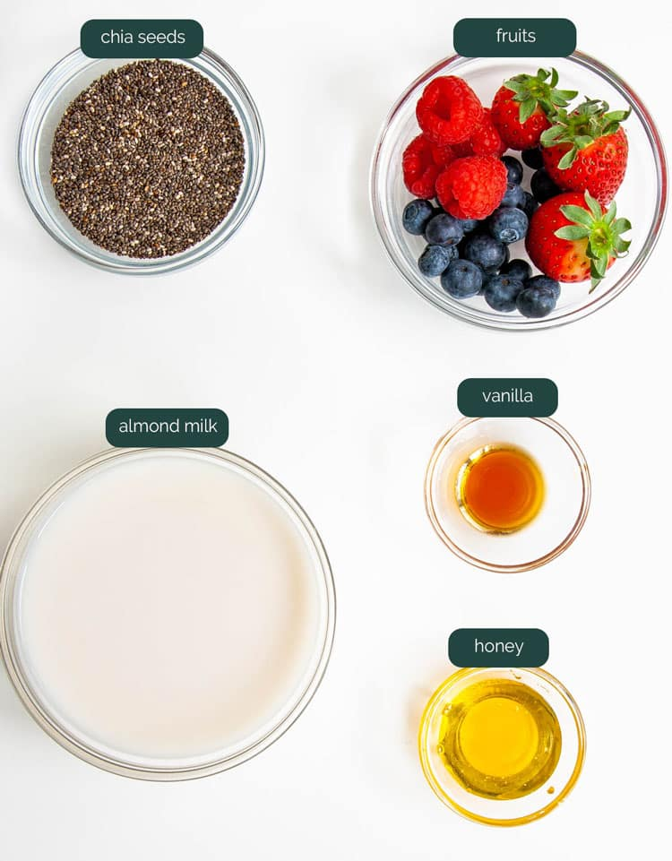 overhead shot of ingredients needed to make chia pudding