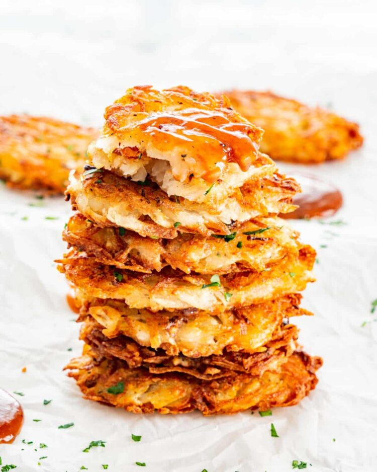 a stack of homemade hash browns