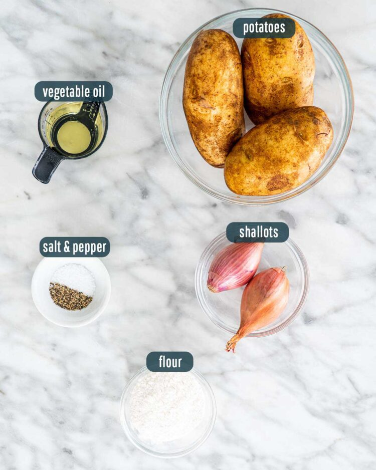 overhead shot of ingredients needed to make hash browns