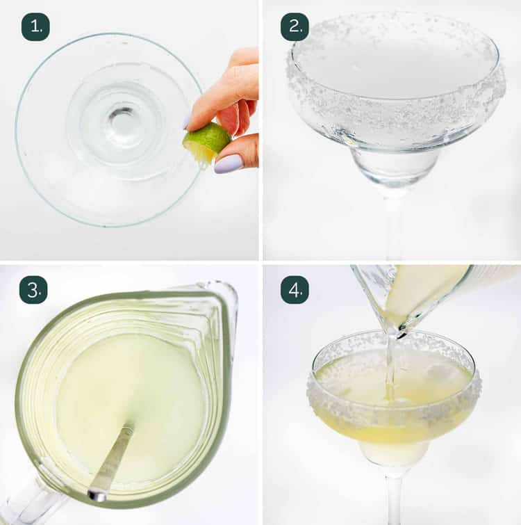 process shots showing how to make a margarita
