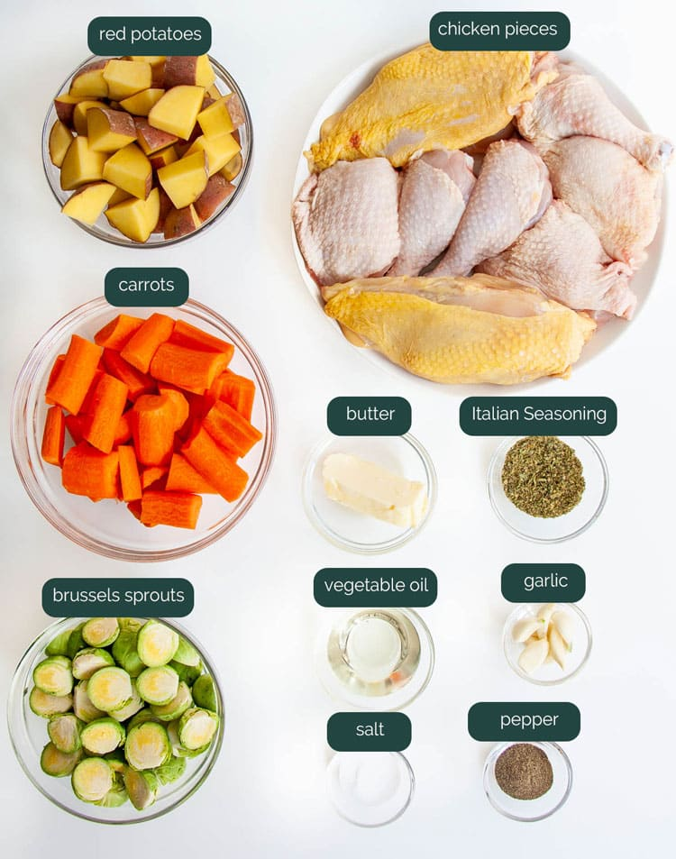 overhead shot of all the ingredients needed to make roasted chicken and vegetables
