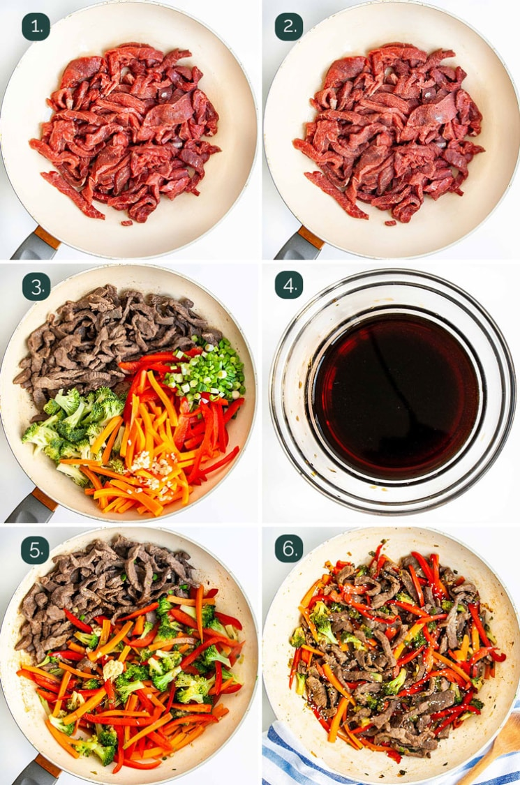 process shots showing how to make beef stir fry