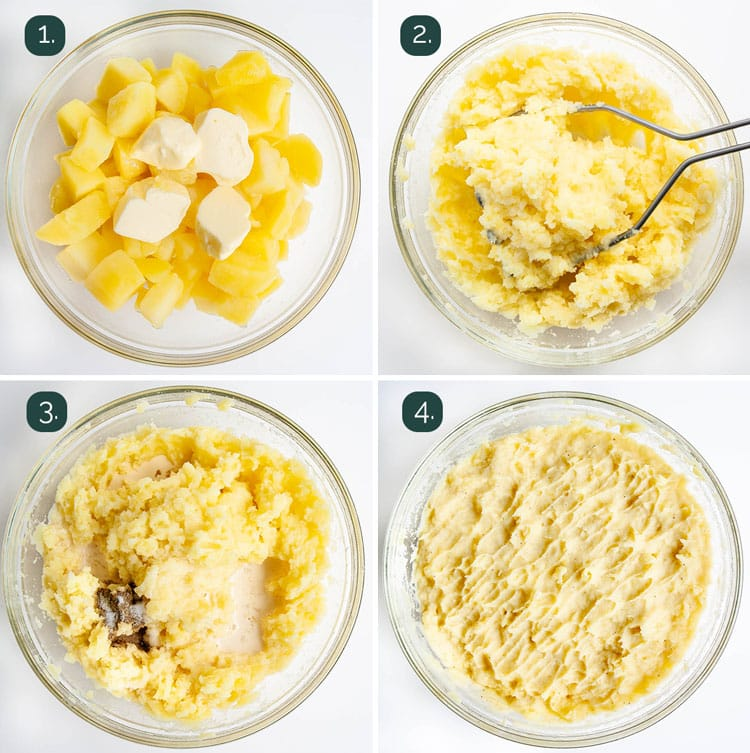 process shots showing how to make mashed potatoes