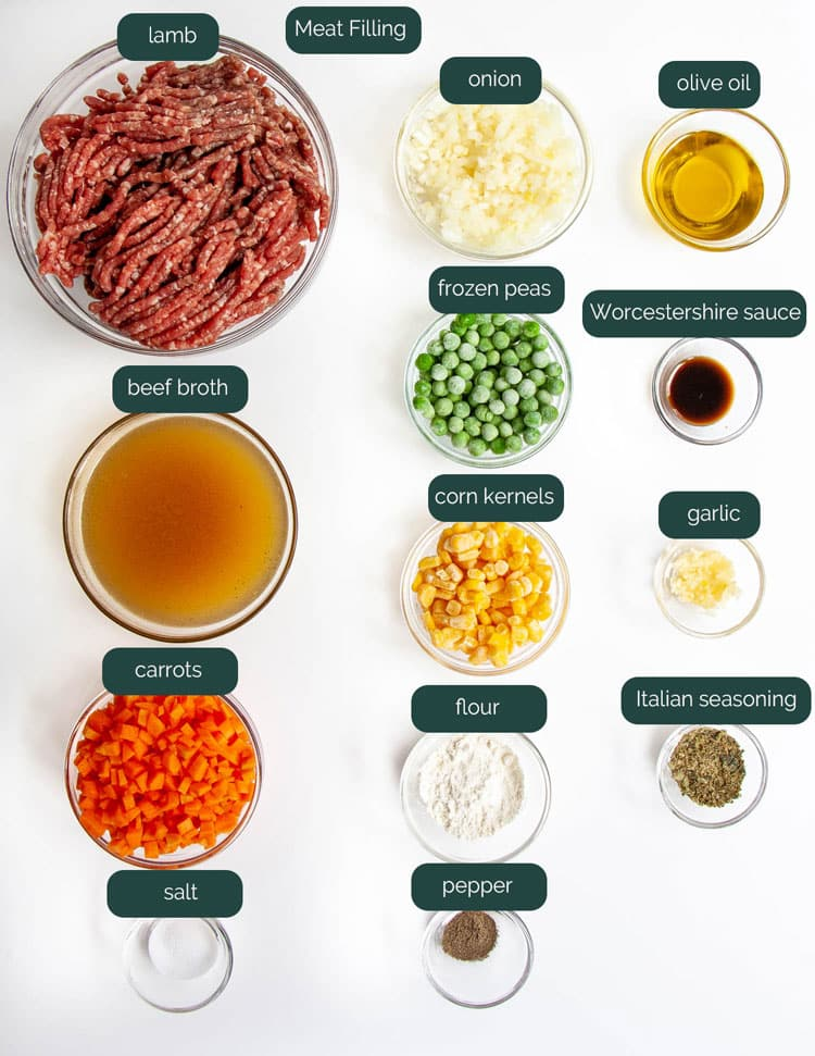 overhead shot of ingredients needed to make the filling for shepherd's pie