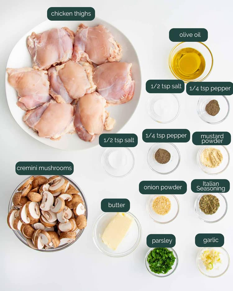 overhead shot of ingredients needed to make skillet chicken and mushrooms