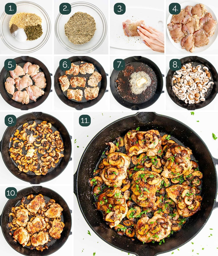 process shots showing how to make skillet chicken and mushrooms