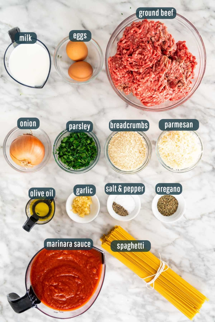 overhead shot of all ingredients needed to make spaghetti and meatballs