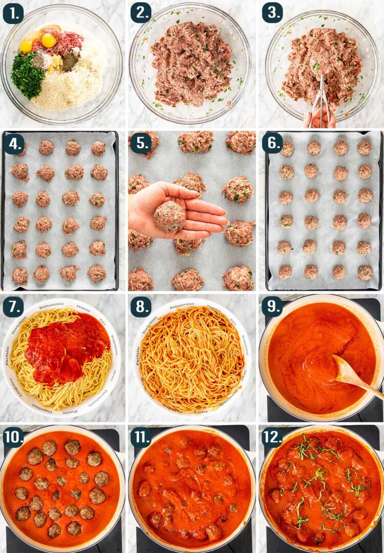 process shots showing how to make spaghetti and meatballs