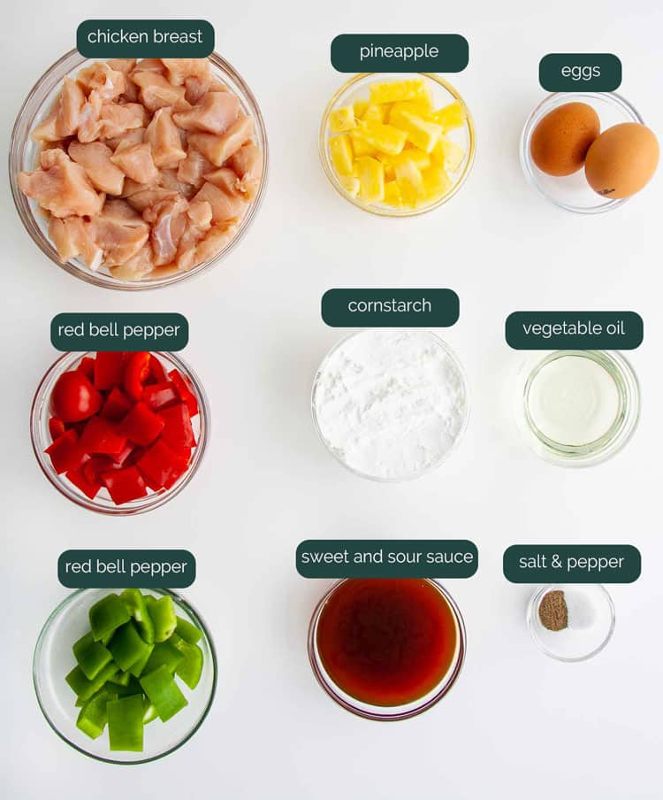 overhead shot of ingredients needed to make sweet and sour chicken