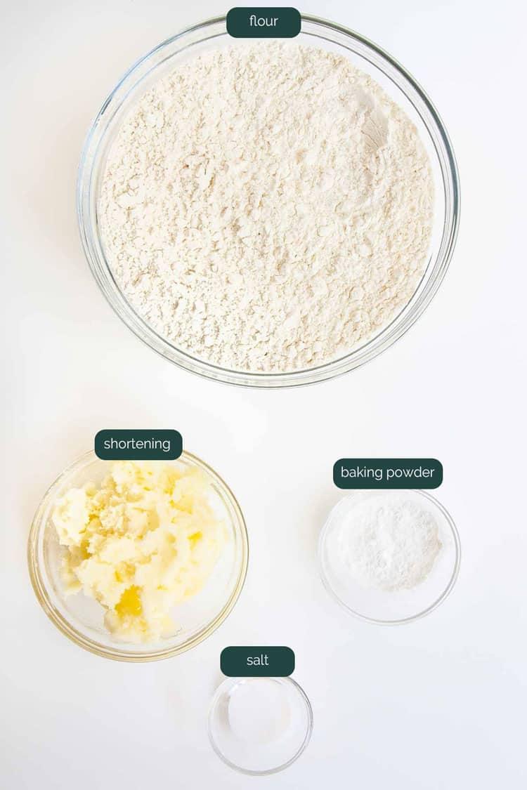 overhead shot of ingredients needed to make biscuit mix