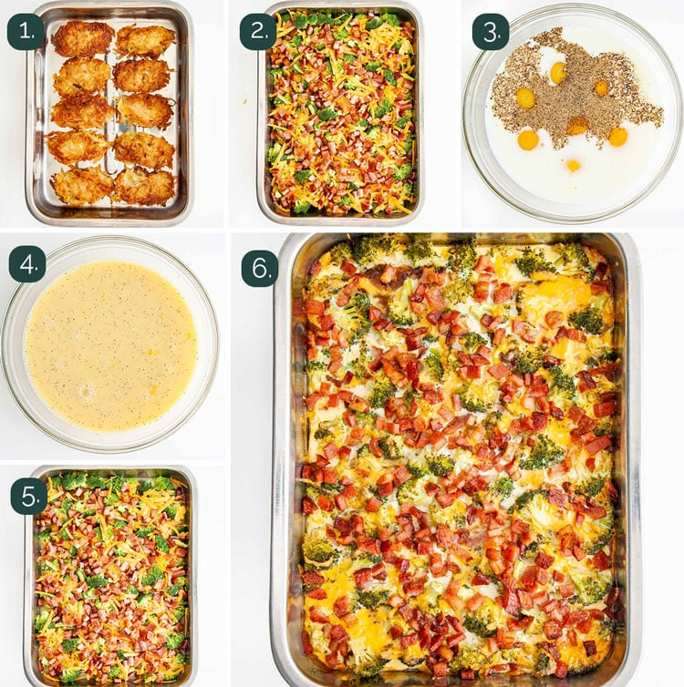 process shots showing how to make breakfast casserole