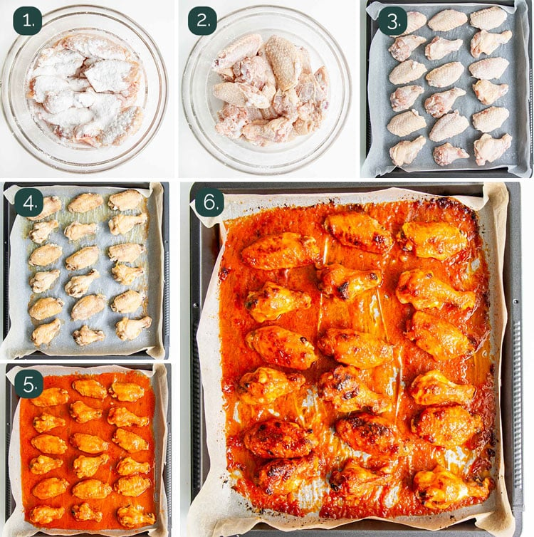 process shots showing how to make buffalo wings